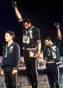 During the Mexico Olympics of 1968, two Black American athletes, Tommie Smith and John Carlos, gave the clenched fist, Black Power salute during the medals ceremony.